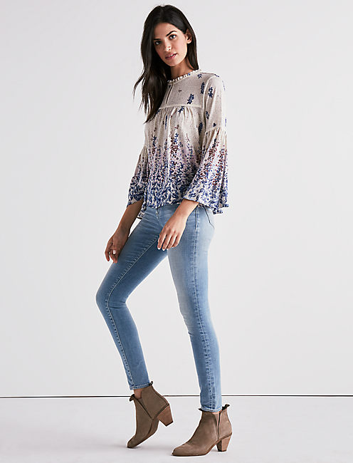 Lucky Border Print Bell Sleeve Peasant Top