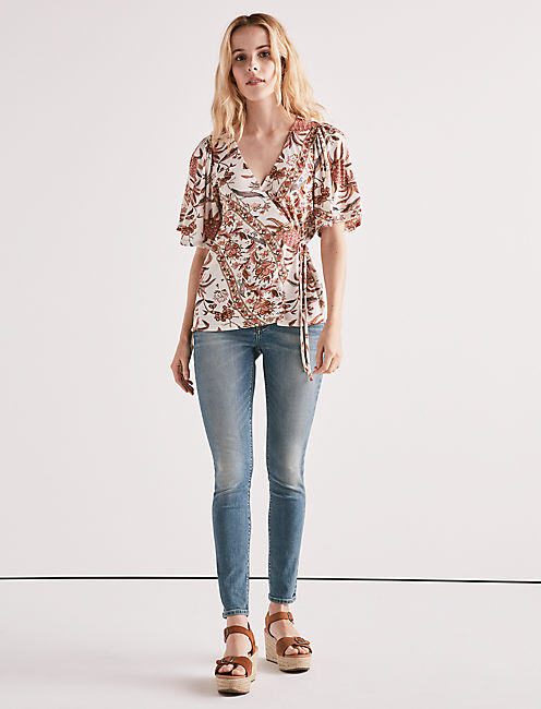 Lucky Floral Print Wrap Top