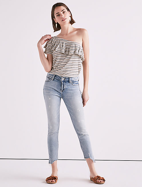 Lucky Drop Needle Stripe One Shoulder