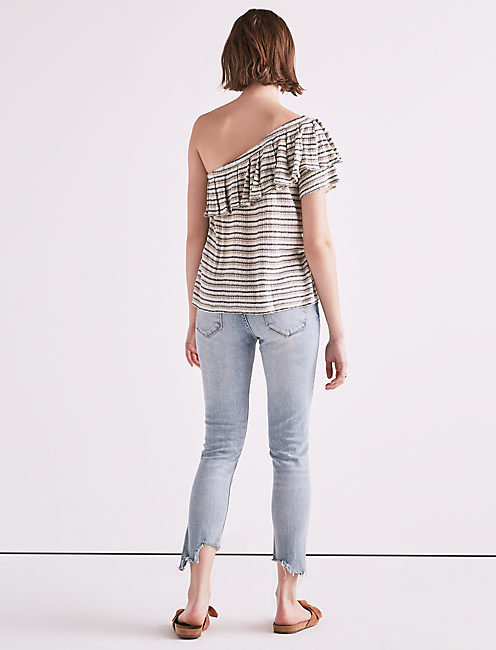 DROP NEEDLE STRIPE ONE SHOULDER, NATURAL STRIPE