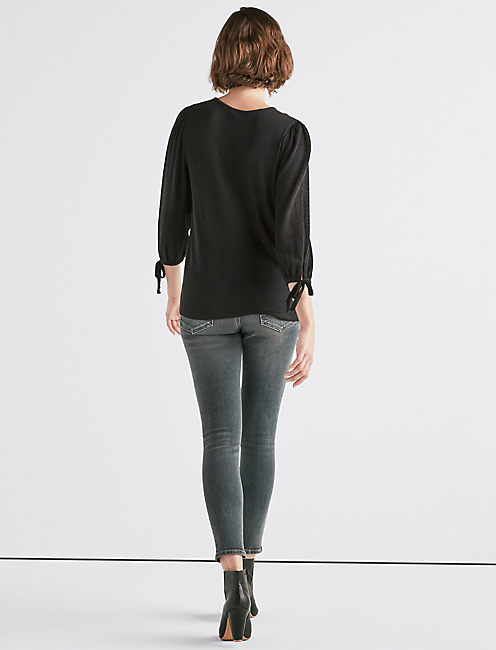 BALLOON SLEEVE TIED TOP,