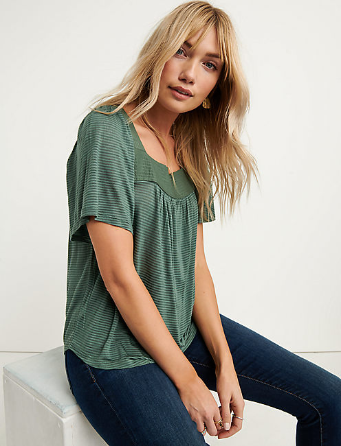 Lucky Shadow Stripe Peasant Top