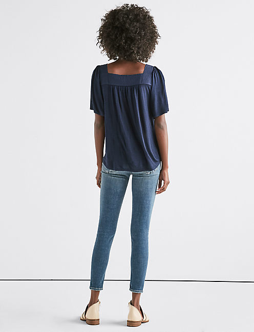 SHADOW STRIPE PEASANT TOP, AMERICAN NAVY