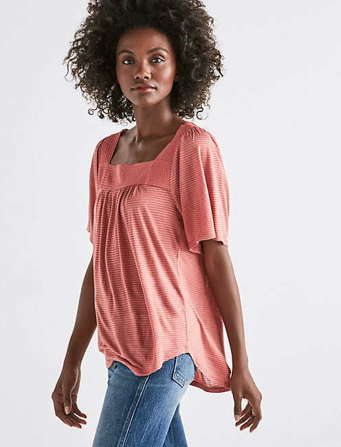 SHADOW STRIPE PEASANT TOP, LIGHT MAHOGANY