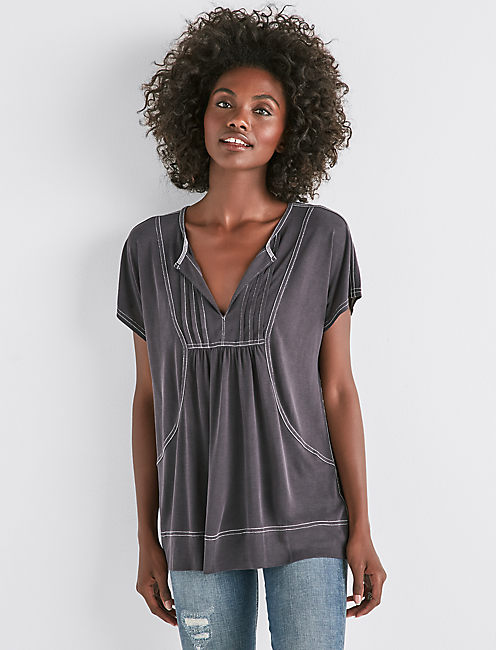 SANDWASH CONTRAST STITCH TOP,