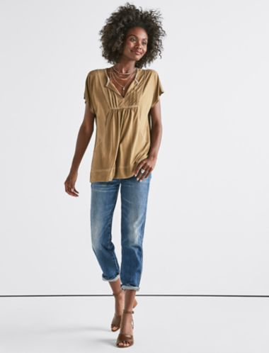 Lucky Sandwash Contrast Stitch Top