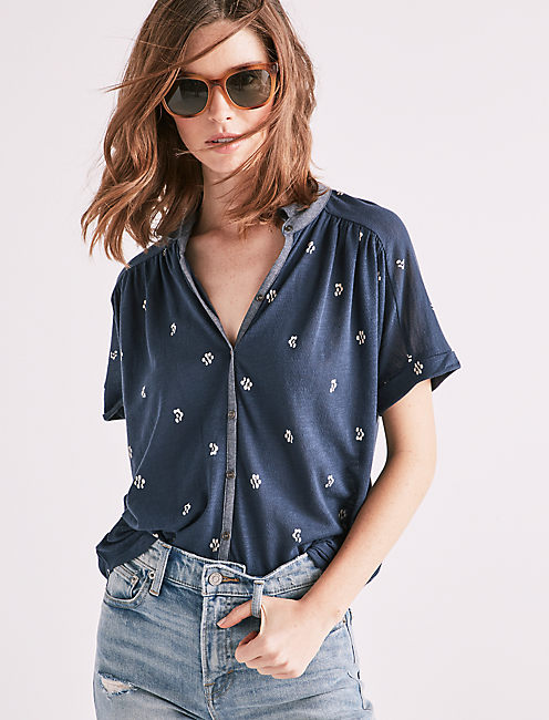 PRINTED DOLMAN BUTTON UP,