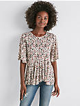 PRINTED FLUTTER SLEEVE TOP,
