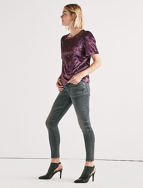 PRINTED VELVET TOP, BERRY MULTI