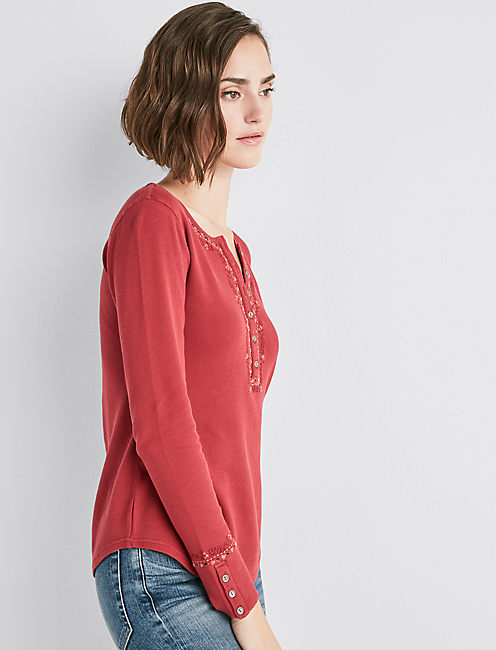 Embroidered Thermal Henley,