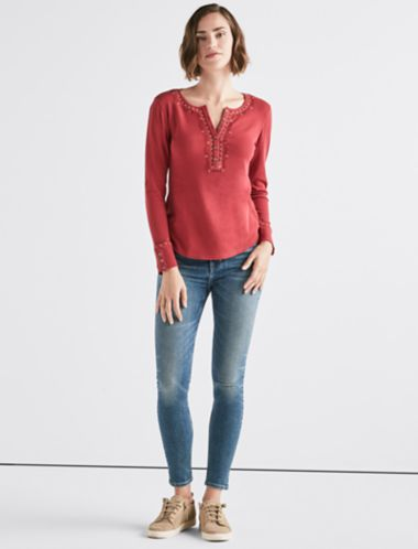 Lucky Embroidered Thermal Henley