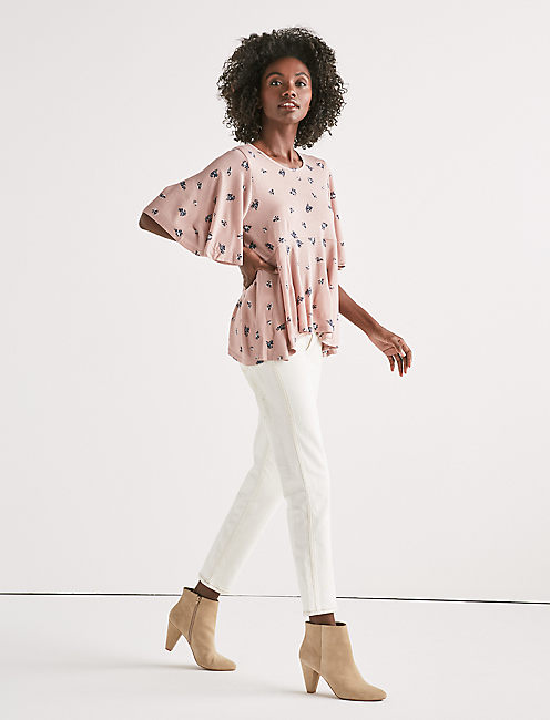 Lucky Printed Flutter Sleeve Top