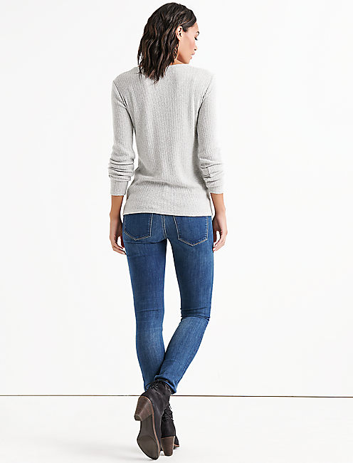 LACE UP RIBBED HENLEY,