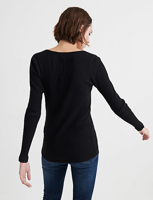 WASHED THERMAL RIB HENLEY,