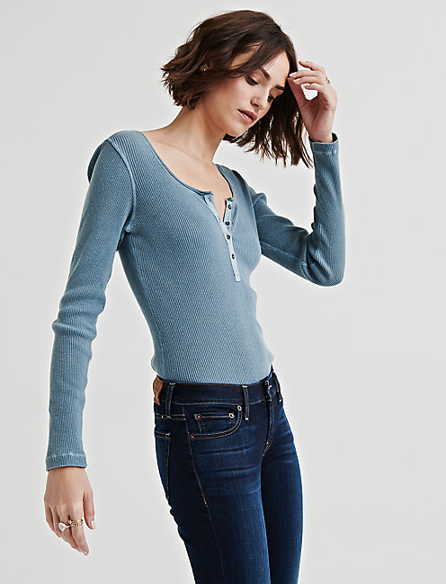 Lucky Washed Thermal Rib Henley