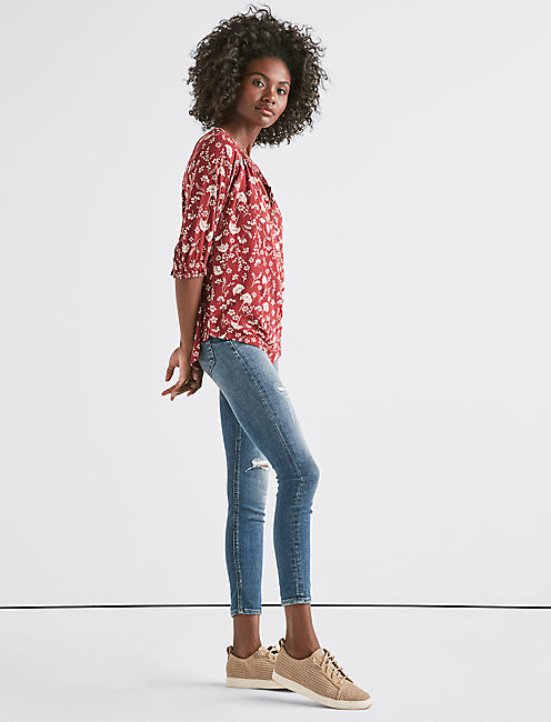 Lucky Floral Henley Top