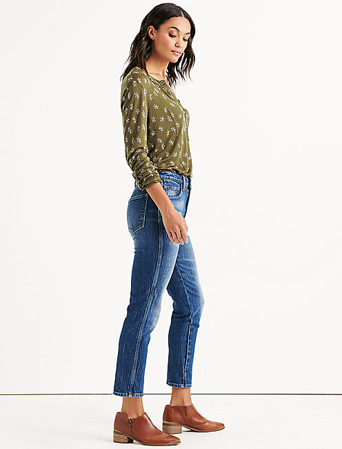 Lucky Seamed Ditsy Floral Henley