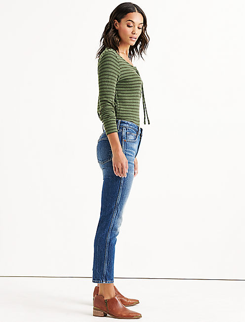 STRIPE LACE UP RIBBED HENLEY, OLIVE STRIPE