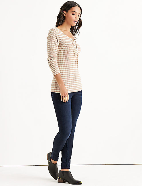 STRIPE LACE UP RIBBED HENLEY,