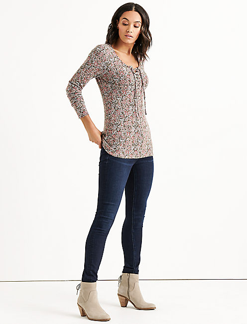 Lucky Lace Up Ribbed Henley