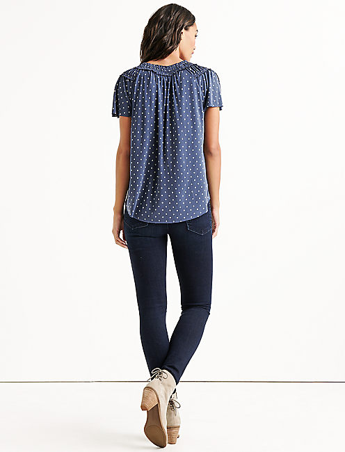 POLKA DOT SANDWASH TOP, BLUE MULTI