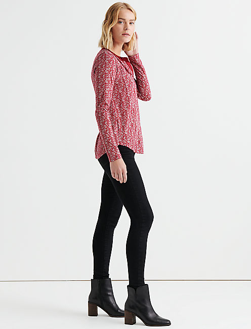 Lucky Printed Seamed Henley