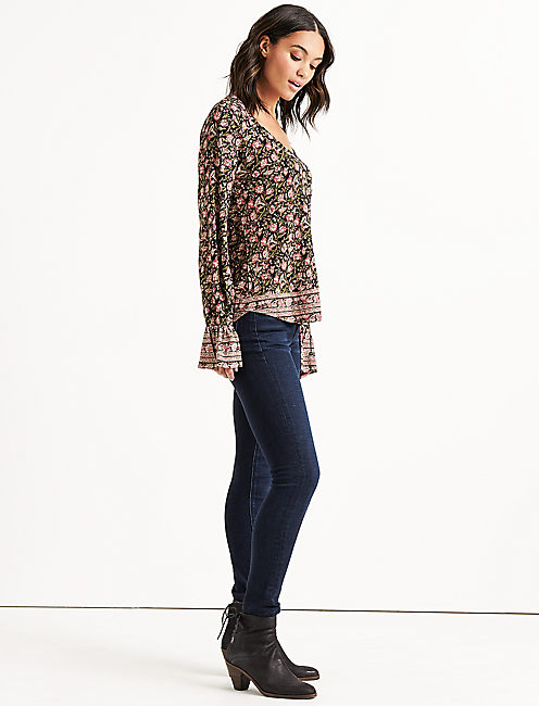 Lucky Border Print Bell Sleeve Top