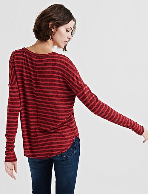 Stripe Oversized Button Through Tee,