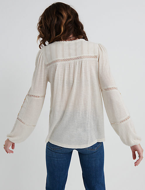 EMBROIDERED PEASANT TOP, NATURAL