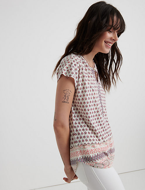 Border Print Sleevless Top