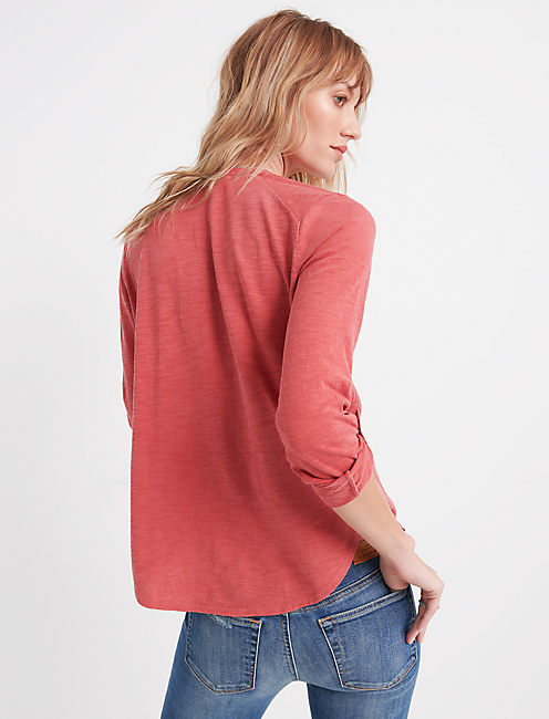 WOVEN GAUZE MIX BUTTON DOWN, WASHED RED