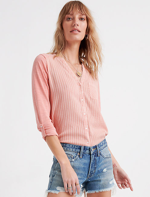 WOVEN GAUZE MIX BUTTON DOWN, CORAL ALMOND