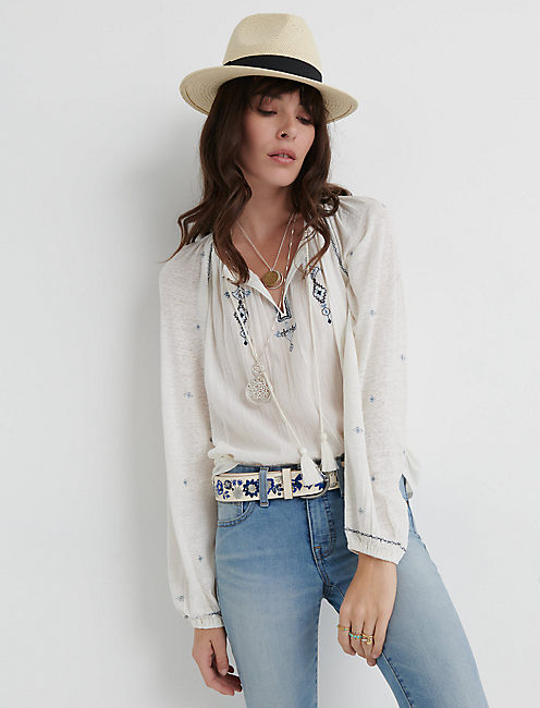 EMBROIDERED KNIT PEASANT TOP, BLUE MULTI