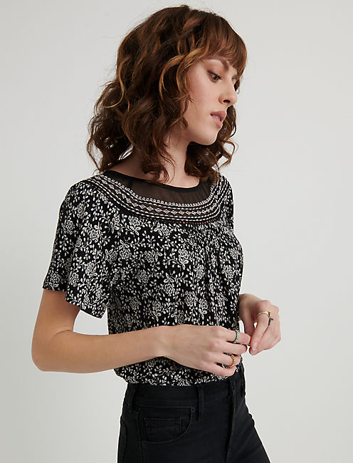 Embroidered Woven Mix Top