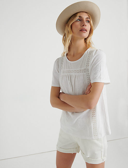 Embroidered Crochet Peasant Top