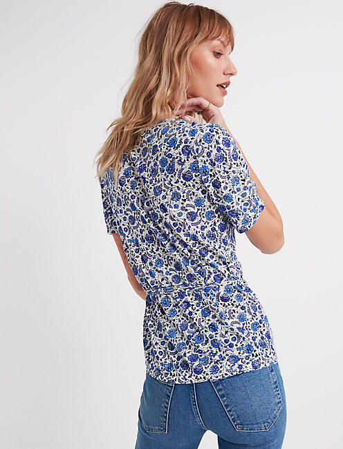 PRINTED WRAP TOP., BLUE MULTI