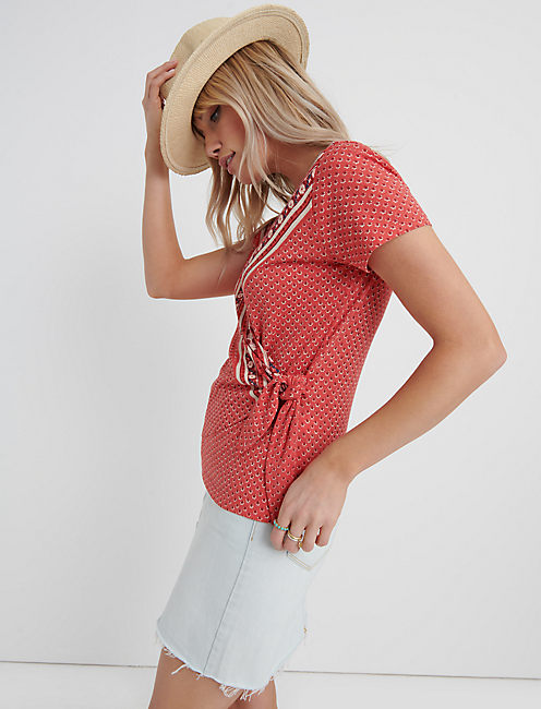 SIDE TIE WRAP TOP, RED MULTI