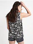BORDER PRINT SLEEVELESS TOP, BLACK/CREAM