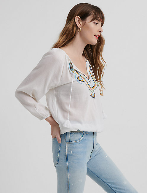 Embroidered 3q Sleeve Peasant Top