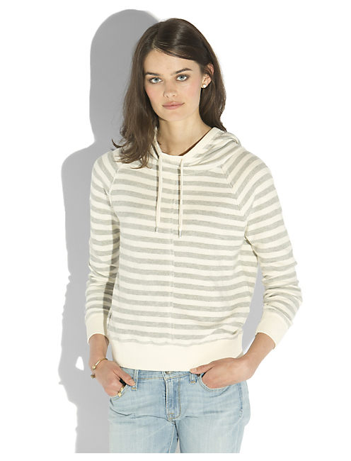 STRIPED PULLOVER HOODIE, GREY STRIPE