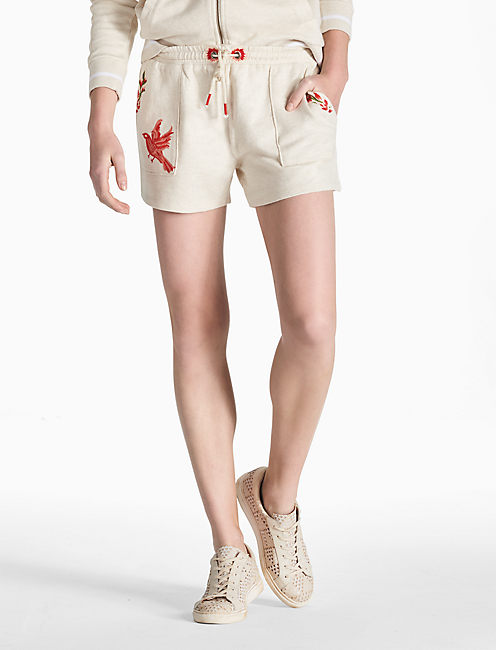 EMBROIDERED BIRD SHORT, HEATHER OATMEAL