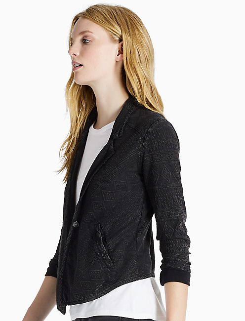WASHED JACQUARD BLAZER, 001 LUCKY BLACK