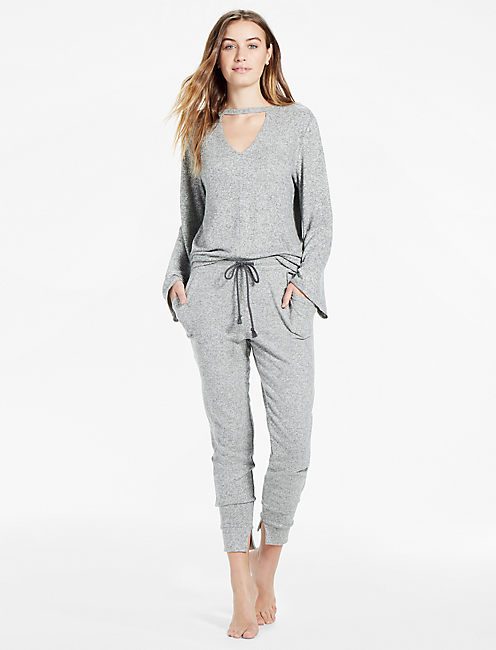 BRUSHED SLIM JOGGER, HEATHER GREY