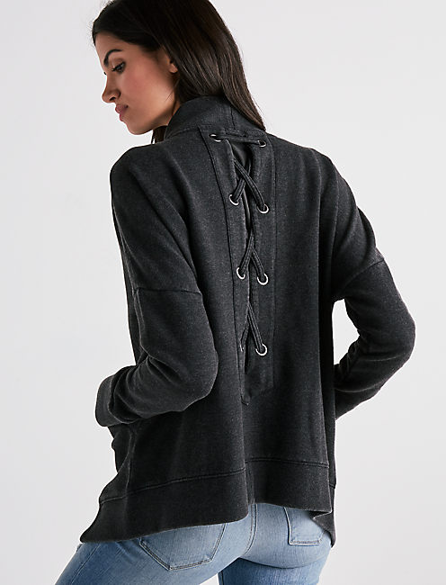 LACE UP CARDIGAN,
