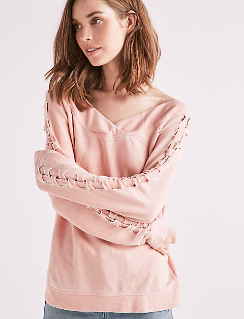 LACE UP OFF THE SHOULDER SWEATSHIRT,