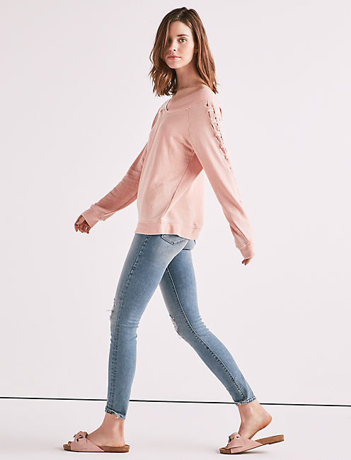 Lucky Lace Up Off The Shoulder Sweatshirt