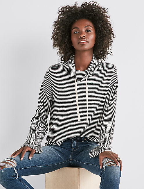 CLOUD JERSEY FUNNEL NECK PULLOVER,