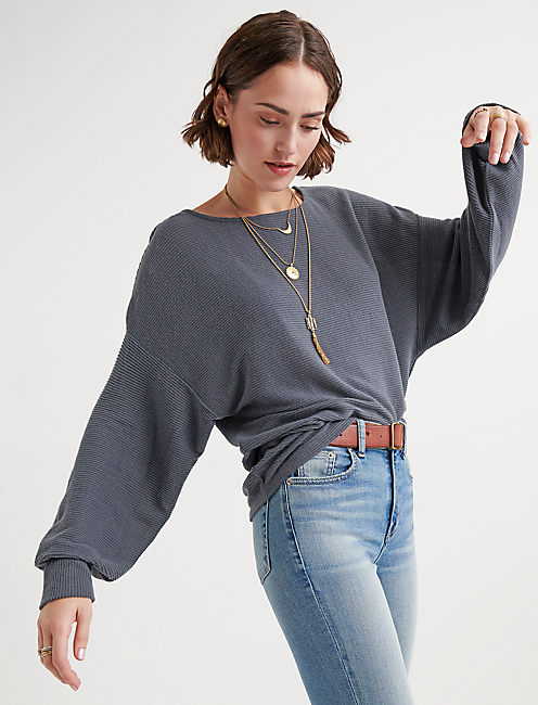 CLOUD JERSEY RIBBED DOLMAN PULLOVER,