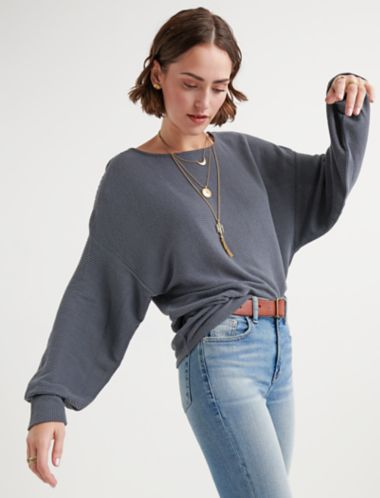 Lucky Cloud Jersey Ribbed Dolman Pullover
