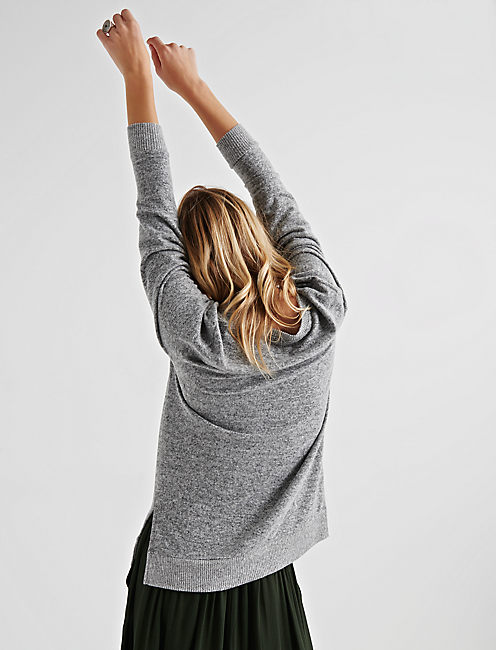 CLOUD JERSEY V NECK TUNIC, HEATHER GREY